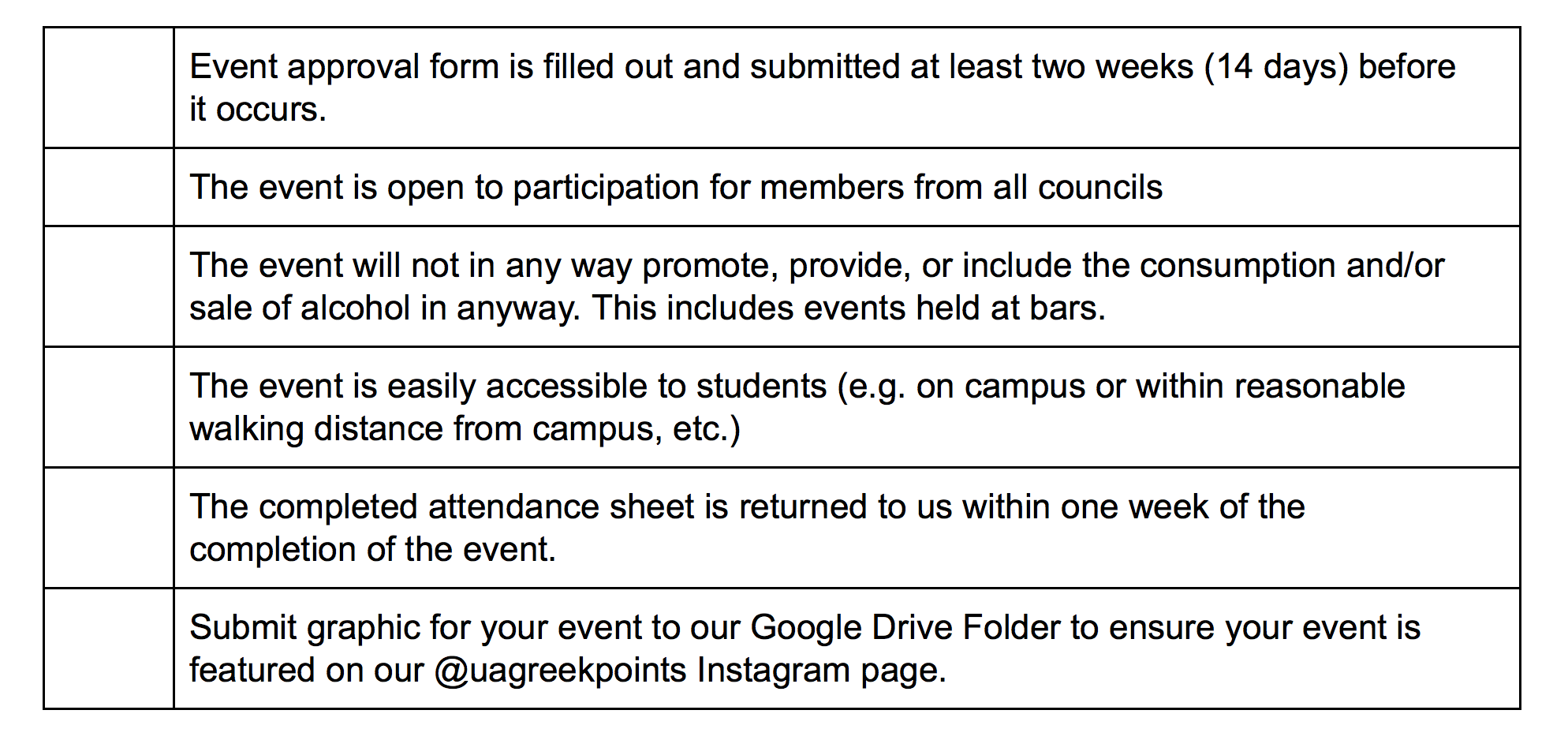 Greek Points Guidelines for Approval of Events.